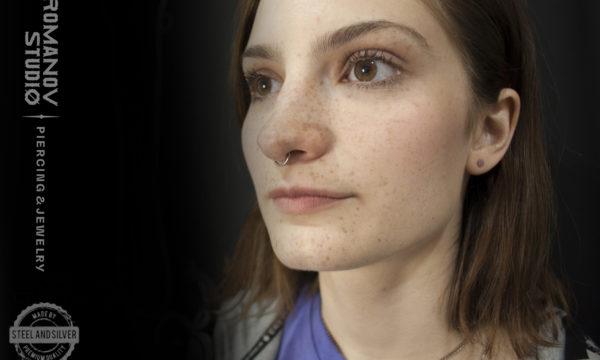 Пирсинг носа септум кольцо-кликер